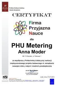 Certyfikat - Firma Przyjazna Nauce